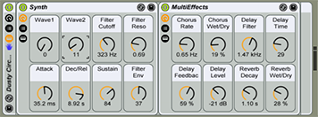 Dusty Circuits is one of the Ableton Instruments in the Synth Waves collection.